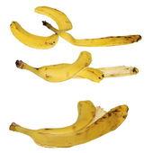 Set bananenschil geïsoleerd op een witte achtergrond, textuur — Stockfoto