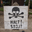 Stock Photo: Warning sign in Auschwitz