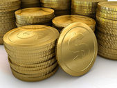 A large stack of gold coins — Stock Photo