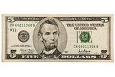 Five dollar bill — Stock Photo
