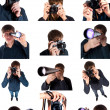 Man with camera and telescope — Stock Photo