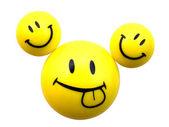 Three yellow smiley — Stock Photo