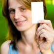 Woman holding empty card — Stock Photo #6440346