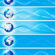Foto Stock: Set of blue banners with globe