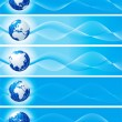 Set of blue banners with globe — ストック写真
