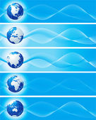 Set of blue banners with globe — Stock Photo