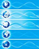 Uppsättning blå banners med globe — Stockfoto