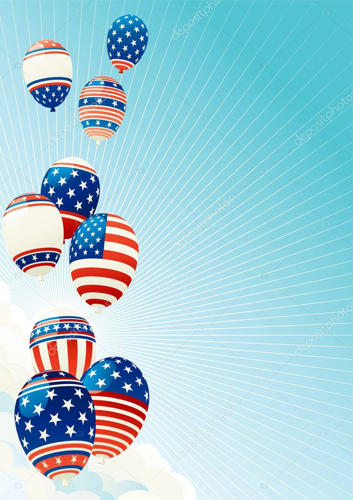 Vector illustration of many Patriotic  balloons on blue sky with clouds,  sun and sun beams — Stock Vector #6041965