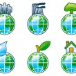 Vector set of computer shine icons for environment. — Stock Vector #6059028