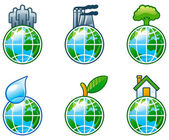 Vector set of computer shine icons for environment. — Stock Vector