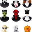 Set of  halloween avatars. — Stock Vector