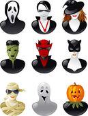 Set of halloween avatars. — Stock Vector
