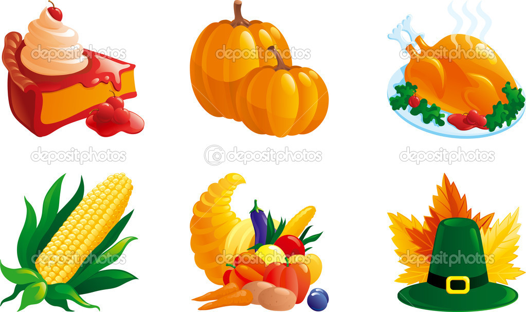 Corn, pie, Turkey-cock, pumpkin. Cornucopia, hat and leaves.  — Stock Vector #6538662