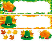 Two web banners and isolated objects for thanksgiving — 图库矢量图片