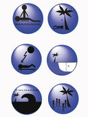 Buttons_Information on the beach — Stock Vector