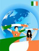 Irish sport fans — Stock Vector