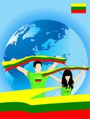 Lithuanian sport fans — Stock Vector