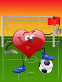 Heart playing in football — Stock Vector