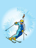 Lowering skier — Stock Vector