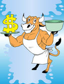 Cow and money — Stock Vector