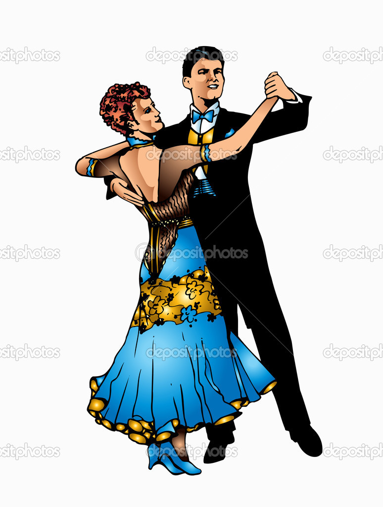 Ballroom dance - stock illustration
