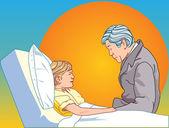 Homme tout être enfant malade — Vecteur