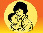 Femme et enfant — Vecteur