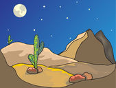 Night in desert — Stock Vector