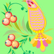 Stock Vector: Bird and berries