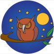 Owl at night — Stock Vector #6176550