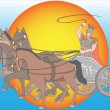 Stock Vector: Chariot with horses