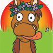 Stock Vector: Horse wearing flowers