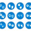 Set of animal tracks blue — Stock Vector