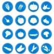 Stock Vector: Vegetable icons blue