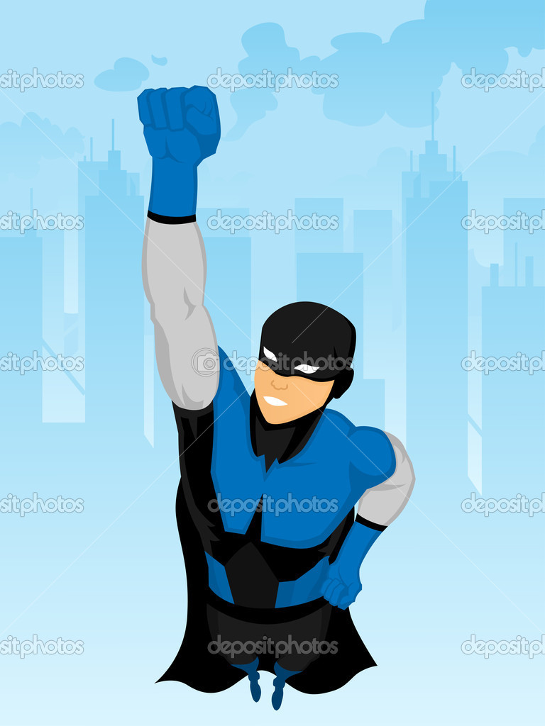 Superhero,the hero and the background are set on different layer — Stock Vector #5402429