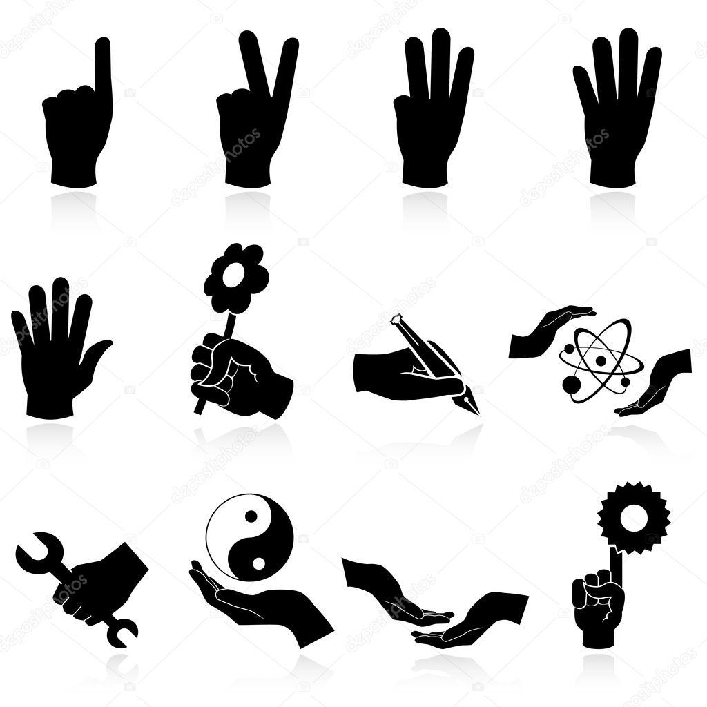 Hands icons — Stock Vector #5409378