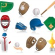 Set of baseball icons - Image vectorielle