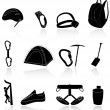 Climbing,camping and exploration icons - Stockvectorbeeld