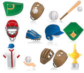 Set of baseball icons — Stock Vector