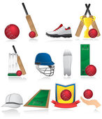 Cricket icons — Stock Vector