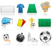Set of soccer icons — Vector de stock