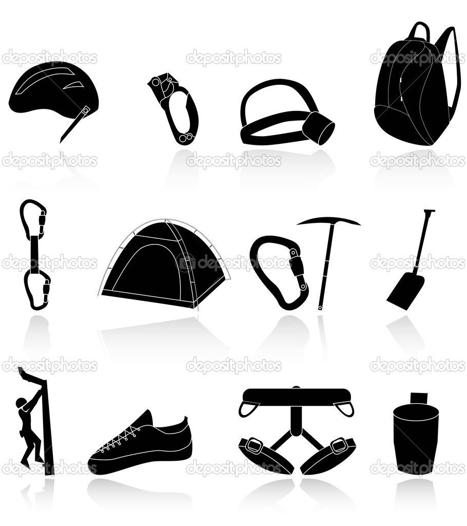 climbing,camping and exploration icons — Stock Vector #5410730