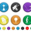Golf icons,each color is set on a different layer - Stock Vector
