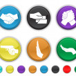 Hands icons,each color icons is set set on a different layer — Stock Vector