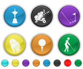 Golf icons,each color is set on a different layer — Stock Vector