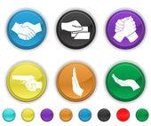 手のアイコン、別のレイヤー上の各色のアイコンはセットのセット — ストックベクタ