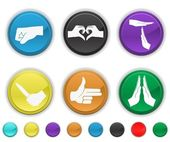Hands icons,each color icons is set set on a different layer — ストックベクタ