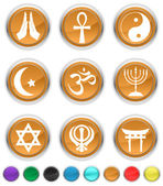 Religion icons,each color icon is set on a different layer — Stock Vector