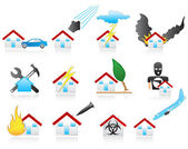 House disaster icons — Stock Vector
