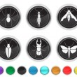 Stock Vector: Bugs icons,each color icon is set on a different layer